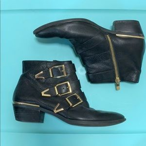 Vince camuto black and gold booties
